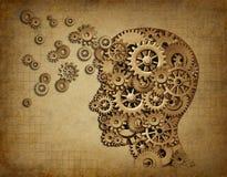 Grunge de la función del cerebro humano con los engranajes stock de ilustración
