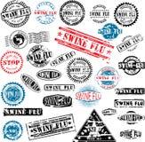 Grunge de la gripe de los cerdos de los sellos de goma Imagen de archivo libre de regalías