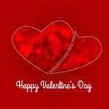Grunge de la tarjeta del día de San Valentín en forma de corazón con las luces del corazón Fotos de archivo
