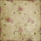Grunge de las rosas del vintage en el libro de recuerdos beige del fondo Imagen de archivo