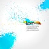 Grunge de rouge, orange et bleu d'éclaboussure de peinture lumineux Images stock