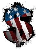 Grunge de symbole du dollar Images libres de droits