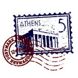 Grunge de type d'estampille ou de cachet de la poste d'Athènes Photo libre de droits