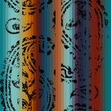 Grunge decorative ornament on the striped backgrou Stock Photo