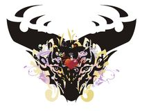 Grunge deer head with red heart Stock Image