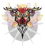 Grunge deer head with red hearts Royalty Free Stock Photos