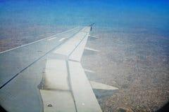 grunge del collage de la opinión aérea del cielo del aterrizaje del avión Fotos de archivo libres de regalías
