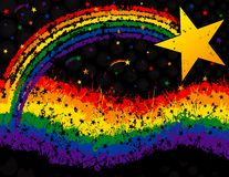 Grunge del Rainbow e della stella Fotografia Stock Libera da Diritti