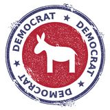 Grunge democrat donkeys rubber stamp. USA presidential election patriotic seal with democrat donkeys silhouette and Democrat text. Rubber stamp vector Royalty Free Stock Photography