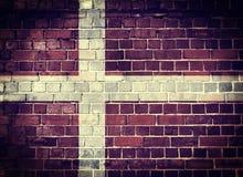 Grunge Denmark flag on a brick wall Royalty Free Stock Photos