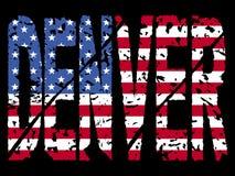 Grunge Denver with flag. Grunge Denver text with American flag illustration Royalty Free Stock Image