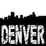Grunge Denver text with skyline Stock Photography