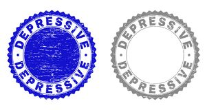 Grunge DEPRESSIVE Scratched Watermarks. Grunge DEPRESSIVE stamp seals isolated on a white background. Rosette seals with grunge texture in blue and gray colors stock illustration