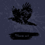 Grunge design with blots silhouette of animal and latin aphorism. Stock Photos