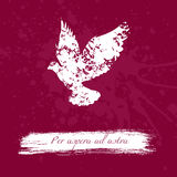 Grunge design with blots silhouette of animal and latin aphorism. Royalty Free Stock Image