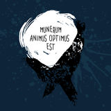 Grunge design with blots silhouette of animal and latin aphorism. Stock Photography