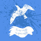 Grunge design with blots silhouette of animal and latin aphorism. Royalty Free Stock Photo