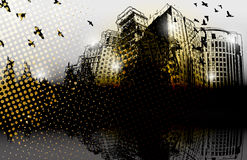 Grunge design city panorama Royalty Free Stock Photos