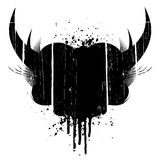 Grunge design element. Vector illustration of a grungy aged design element with horns and ink splatter Royalty Free Stock Photos