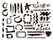 Grunge design elements set. Brush strokes and borders. Vector Illustration. Stock Photos