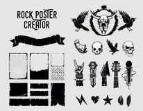 Grunge design elements. Sign and frame set for music posters. Stock Photos