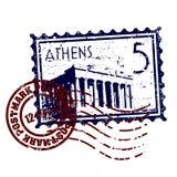 Grunge di stile del bollo o del timbro postale di Atene Fotografia Stock Libera da Diritti