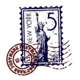 Grunge di stile del bollo o del timbro postale di New York Fotografia Stock Libera da Diritti
