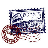 Grunge di stile del bollo o del timbro postale di Roma Fotografia Stock