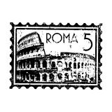 Grunge di stile del bollo o del timbro postale di Roma Fotografie Stock Libere da Diritti