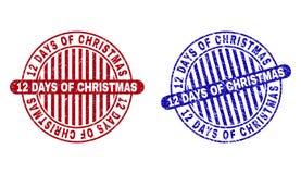 Grunge 12 DIAS do NATAL riscados em volta dos selos ilustração do vetor