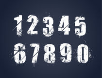 Grunge dirty painted numbers. Set. Vector illustration Stock Photography