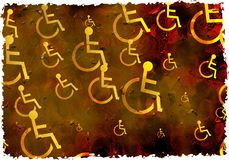 Grunge disabled. Artistic dirt stained grunge textured parchment background with disabled symbols royalty free stock photos