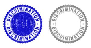 Grunge DISCRIMINATION Textured Stamps. Grunge DISCRIMINATION stamp seals isolated on a white background. Rosette seals with grunge texture in blue and grey royalty free illustration