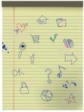 Grunge disegnato a mano scherza le icone su documento legale giallo Fotografia Stock