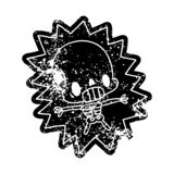 Grunge distressed icon kawaii electrocuted skeleton. A creative grunge icon kawaii electrocuted skeleton stock illustration