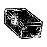 Grunge distressed icon of a metal tool box. A creative grunge icon drawing of a metal tool box royalty free illustration