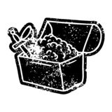 Grunge distressed icon of a treasure chest. Illustrated grunge distressed icon of a treasure chest royalty free illustration