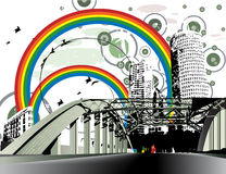 Grunge distressed rainbow city. Vectorized illustration of bridge connecting to a city full of rainbows and tall buildings. background distressed grunge style Stock Photography