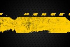Grunge distressed yellow road marking paintbrush stroke banner  Stock Images