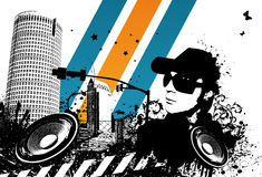 Grunge DJ Stadt vektor abbildung