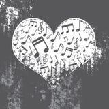 Grunge do coração com música para dentro Imagens de Stock Royalty Free