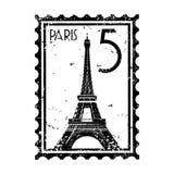 Grunge do estilo do selo ou do carimbo postal de Paris
