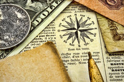 Grunge documents. Compass, old documents and money on paper Stock Photo