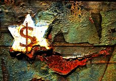 Grunge Dollar and Star Background. Concept for Dollar standing the test of time with Faded rusty Star and peeling blistered background Royalty Free Stock Image