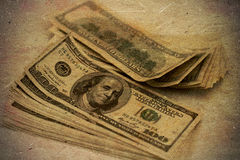 Grunge dollars retro background Stock Photo