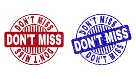 Grunge DON`T MISS Scratched Round Watermarks. Grunge DON`T MISS round stamp seals isolated on a white background. Round seals with grunge texture in red and blue vector illustration
