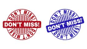 Grunge DON`T MISS! Scratched Round Watermarks. Grunge DON`T MISS! round stamp seals isolated on a white background. Round seals with grunge texture in red and vector illustration