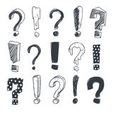 Grunge doodle sketch exclamation and question marks vector set Royalty Free Stock Photography