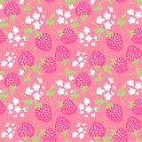 Grunge Doodle Strawberry Scattered Floral Seamless Pattern Royalty Free Stock Photo
