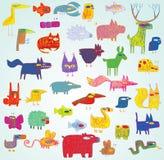 Αστεία συλλογή ζώων Grunge Doodled στα χρώματα λαϊκός-τέχνης Στοκ φωτογραφία με δικαίωμα ελεύθερης χρήσης